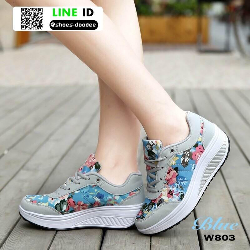 รองเท้าผ้าใบ แบบเสริมพื้นลายดอก W803-BLU [สีน้ำเงิน]