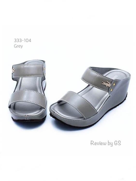 รองเท้าแตะส้นเตารีด สไตล์ลำลอง สายคาดสองตอน (สีเทา )
