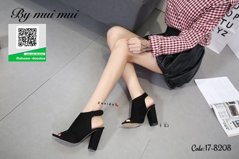 รองเท้าส้นตันรัดส้นสีดำ เปิดหน้า สไตล์เกาหลี (สีดำ )