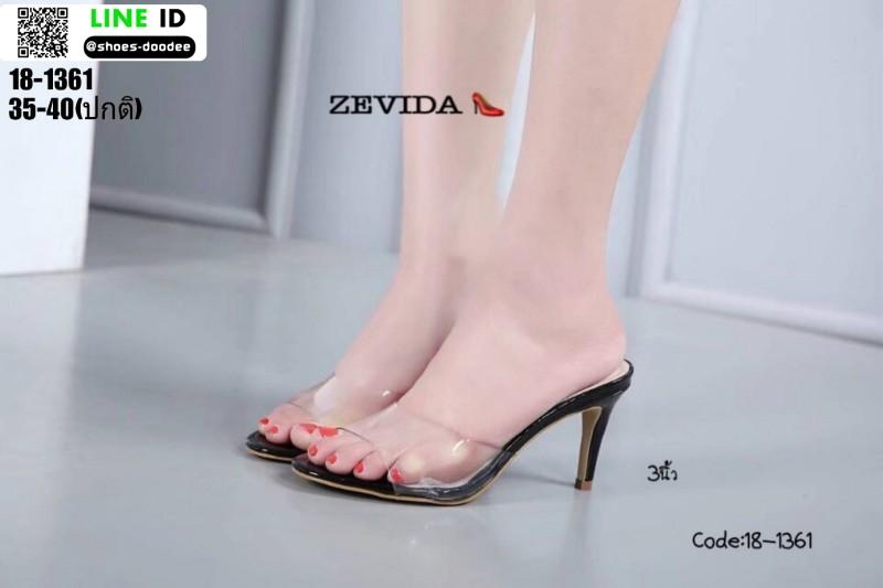 รองเท้าส้นสูงแบบสวม 18-1361-BLK [สีดำ]