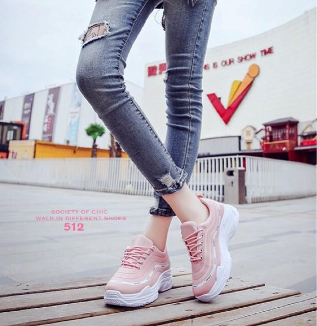 รองเท้าผ้าใบแฟชั่น 512-PNK [สีชมพู]