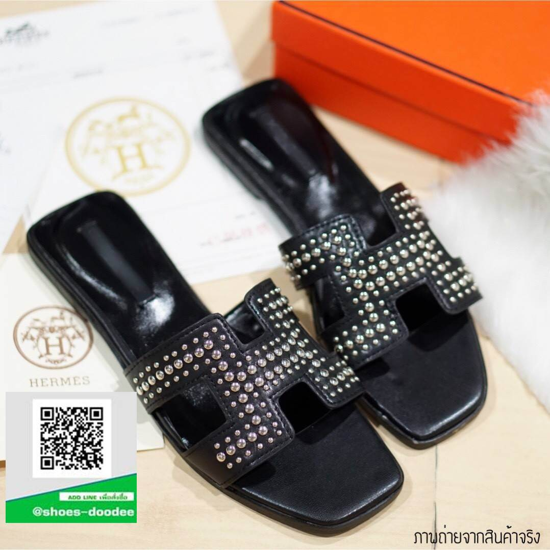 รองเท้าแตะผู้หญิงสีดำ HERMES sandal 2017 (สีดำ )