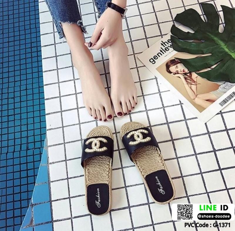 รองเท้าแตะ Chanel แต่งมุก G-1371-BLK [สีดำ]