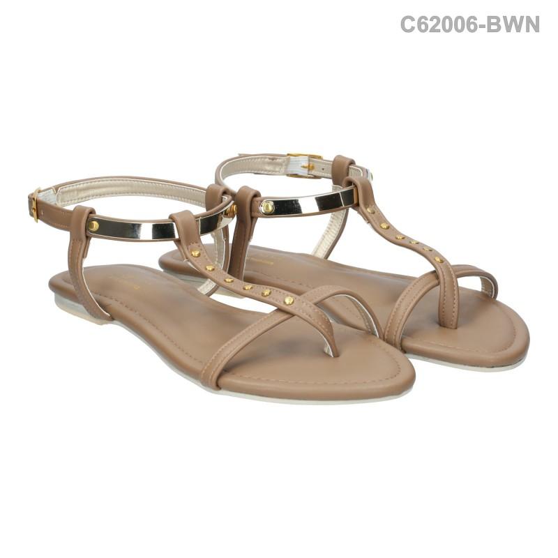 ลดล้างสต๊อก รองเท้าส้นเตี้ย C62006-BWN [สีน้ำตาล]