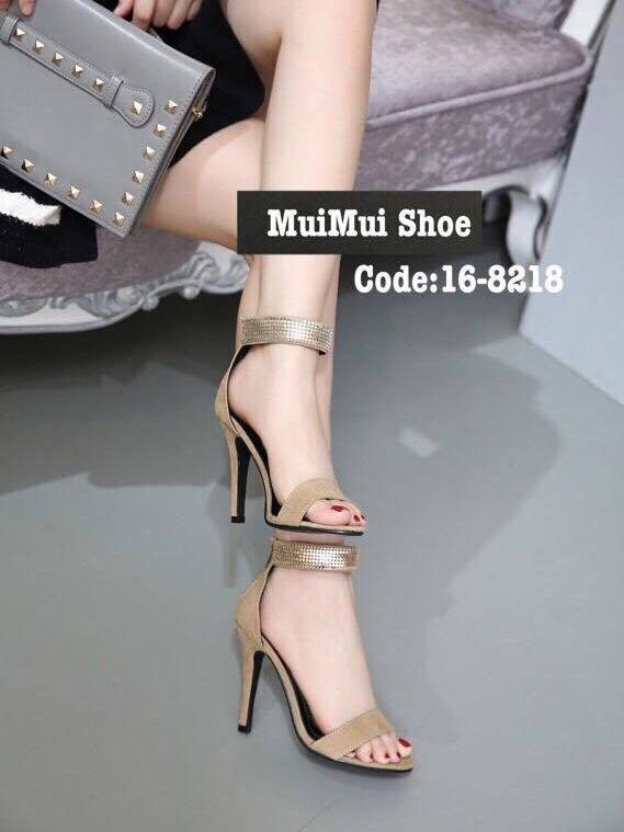 รองเท้าส้นสูงรัดข้อสีครีม เรียบหรูดูแพง สไตล์เกาหลี (สีครีม )