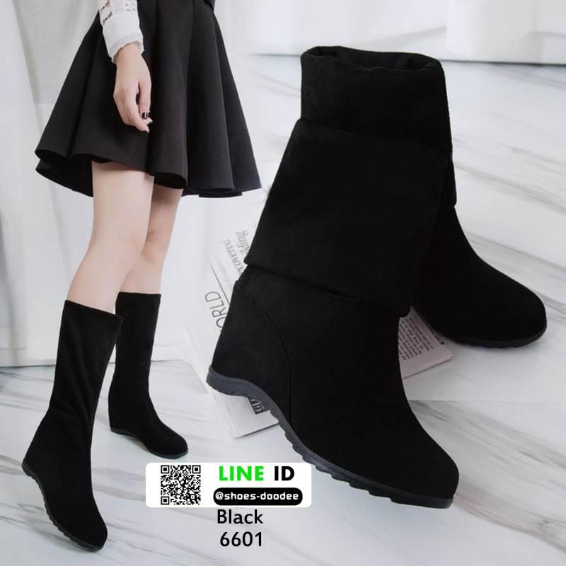 รองเท้าบู้ท แบบสั้น งานสวยใส่ดี พื้นเตารีดสามแบบสาวเกาหลี 6601-ดำ [สีดำ]