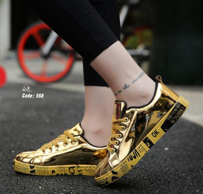 รองเท้าผ้าใบ Flashion หนัง PU-Golden 558 [สีทอง]