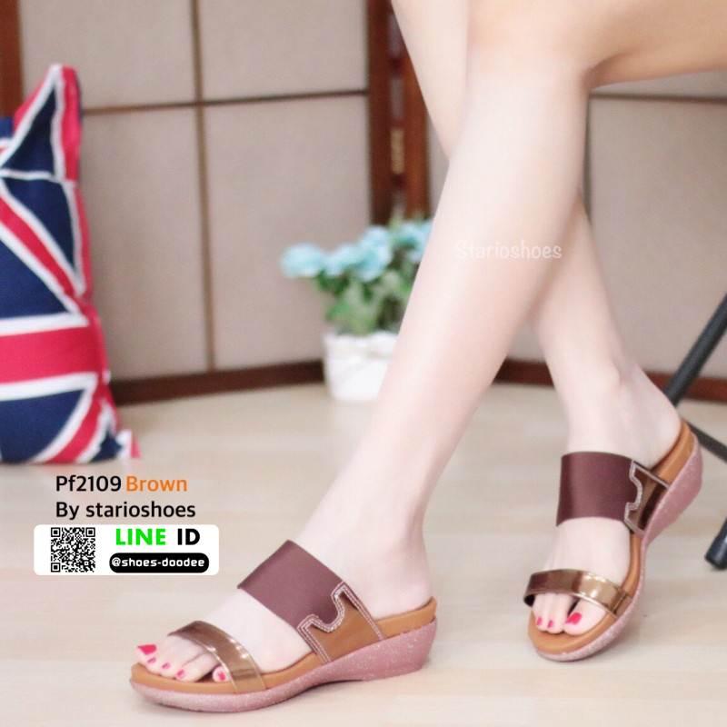 รองเท้าส้นเตารีดหนัง PU PF2109-BWN [สีน้ำตาล]