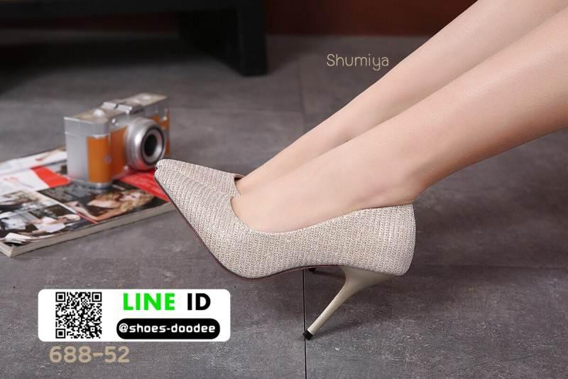 รองเท้าคัชชูทรงหัวแหลมงานผ้าวิ้งๆ 688-52-GLD [สีGLD]