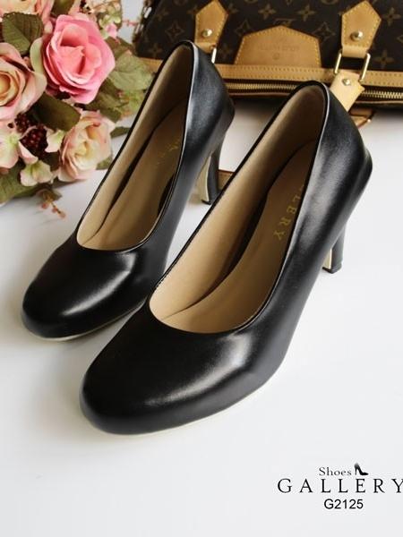 รองเท้าคัทชูส้นสูง หัวมน ทรงสุภาพ (สีดำ )