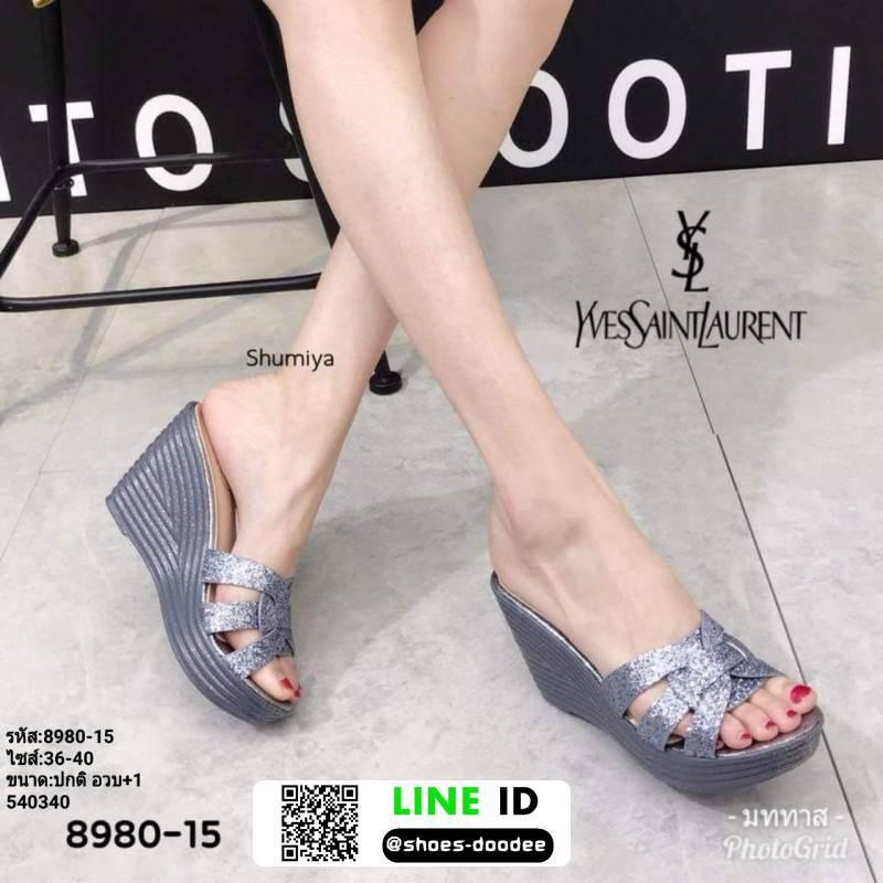 รองเท้าส้นเตารีดแบบสวม 8980-15-GRA [สีเทา]