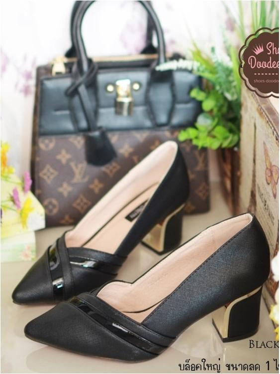 รองเท้าคัทชูส้นสูง สไตล์ชาแนล (สีดำ )