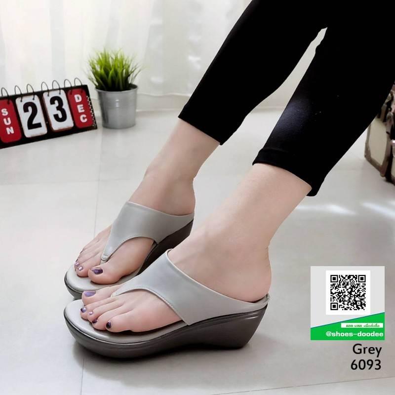 รองเท้าเตารีด หูคีบ ส้น pu ทรงสวย พื้นนิ่ม 6093-เทา [สีเทา]