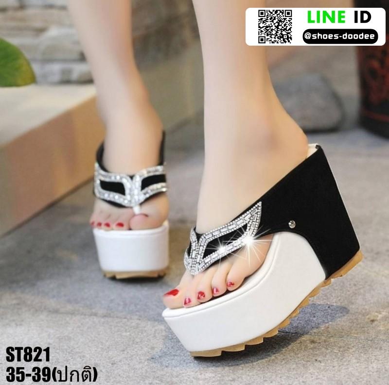 รองเท้าหูคีบส้นเตารีด ST821-BLK2 [สีดำ]