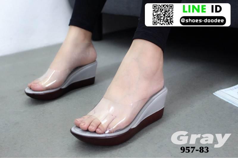 รองเท้าลำลองแบบสวมส้นเตารีด 957-83-GRY [สีเทา]
