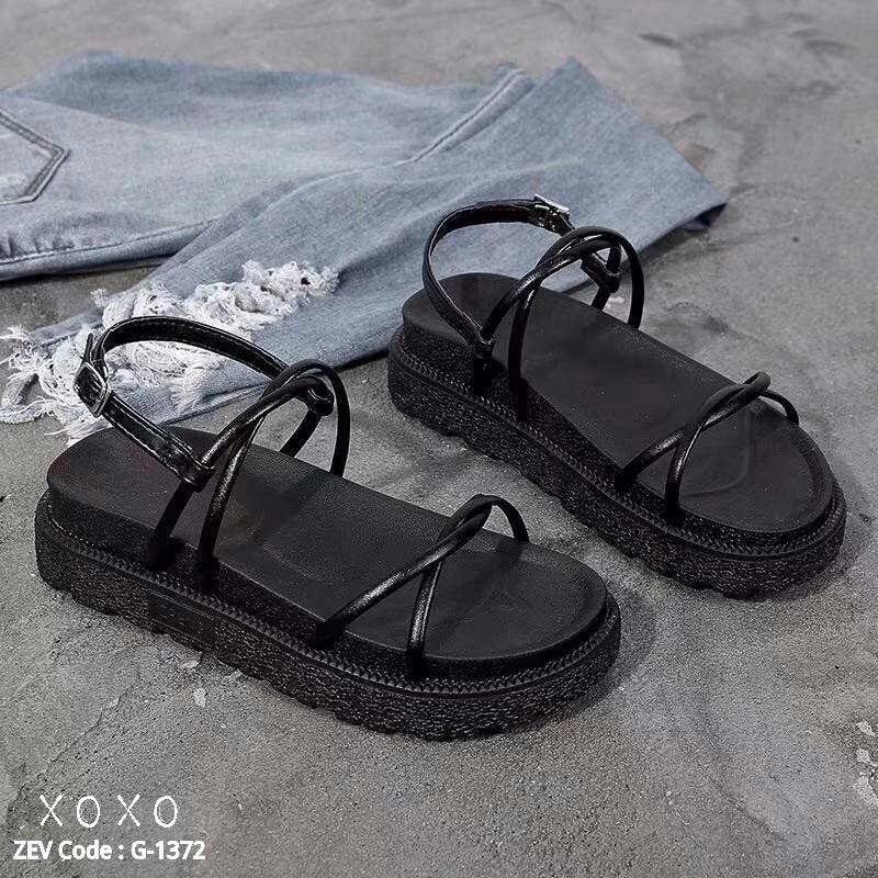 รองเท้าแตะสายไขว้ พื้นหนา 1372-BLK [สีดำ]
