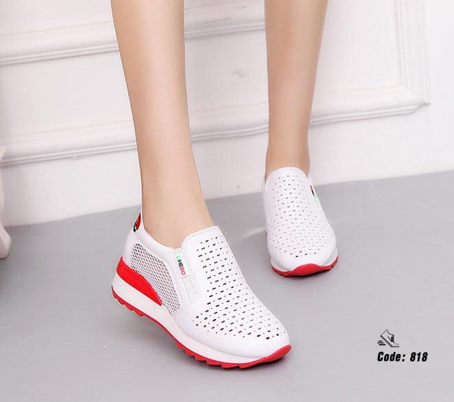 รองเท้าผ้าใบงานหนัง pu-Red 818 [สีแดง]