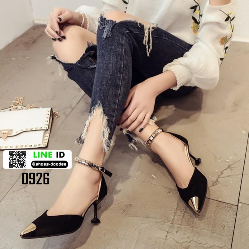 รองเท้าส้นสูง หัวแหลมแต่งอะไหล่ รัดข้อ 0926-BLACK [สีดำ]
