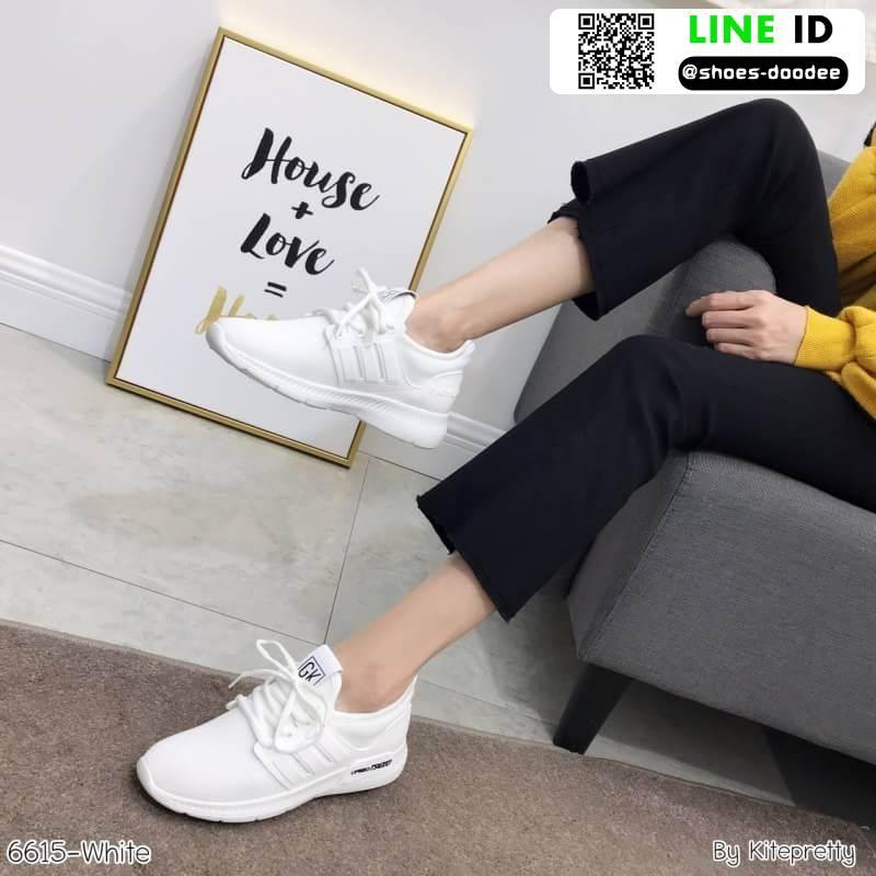 รองเท้าผ้าใบแฟชั่นงานผ้า 6615E2-WHI [สีขาว]