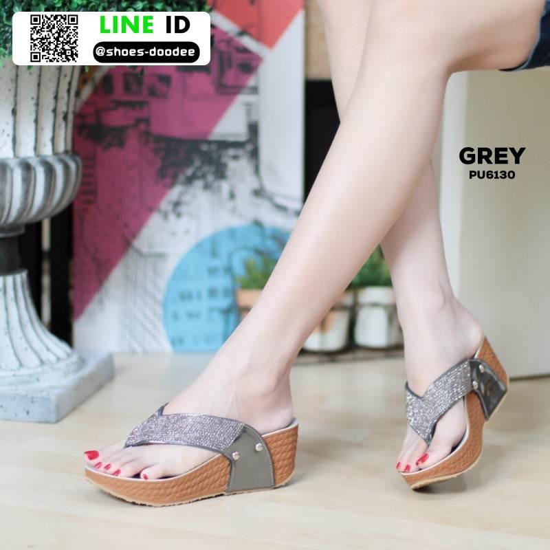 รองเท้าเพื่อสุขภาพ พียู หนีบ PU6130-GRY [สีเทา]