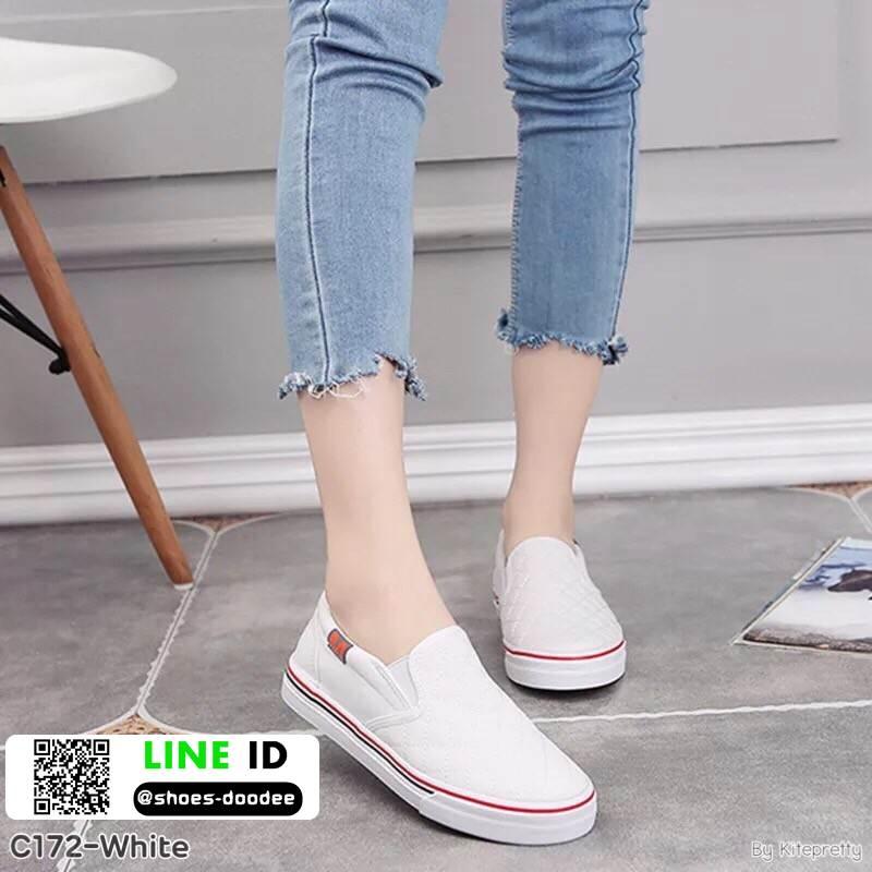 รองเท้าผ้าใบทรงกระชับเท้า C172F2-WHI [สีขาว]