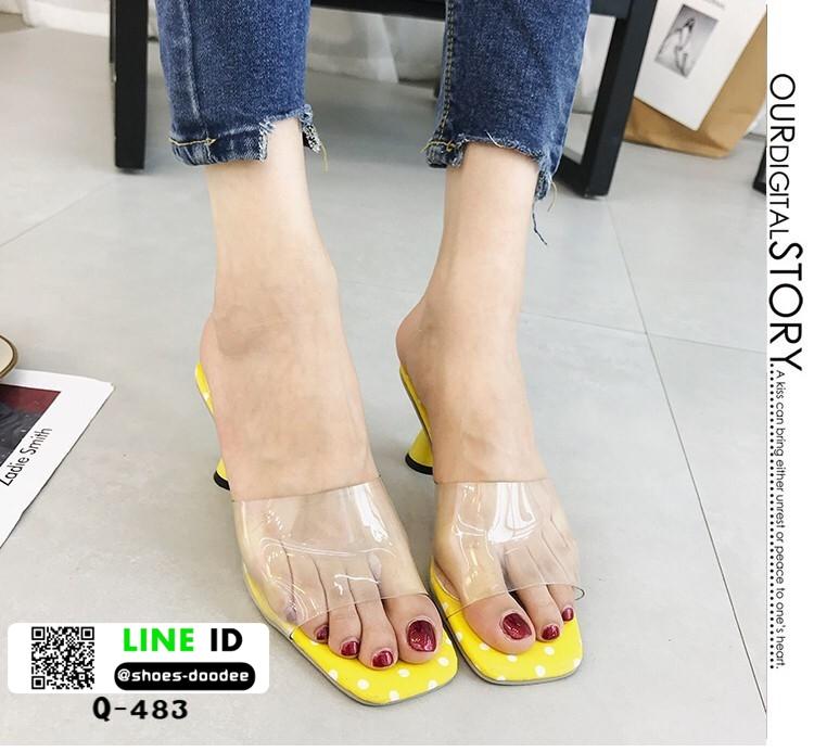 รองเท้าส้นสูงเปิดส้น หน้าใสลายจุด Q-483-YEL [สีเหลือง]