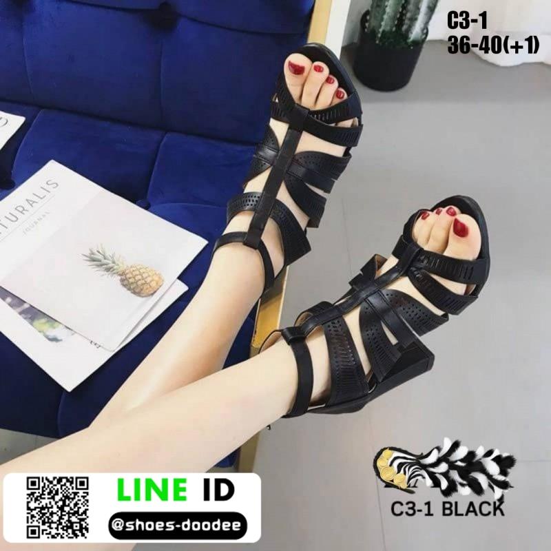 รองเท้าส้นสูงหุ้มส้นเปิดหน้า C3-1-BLK [สีดำ]