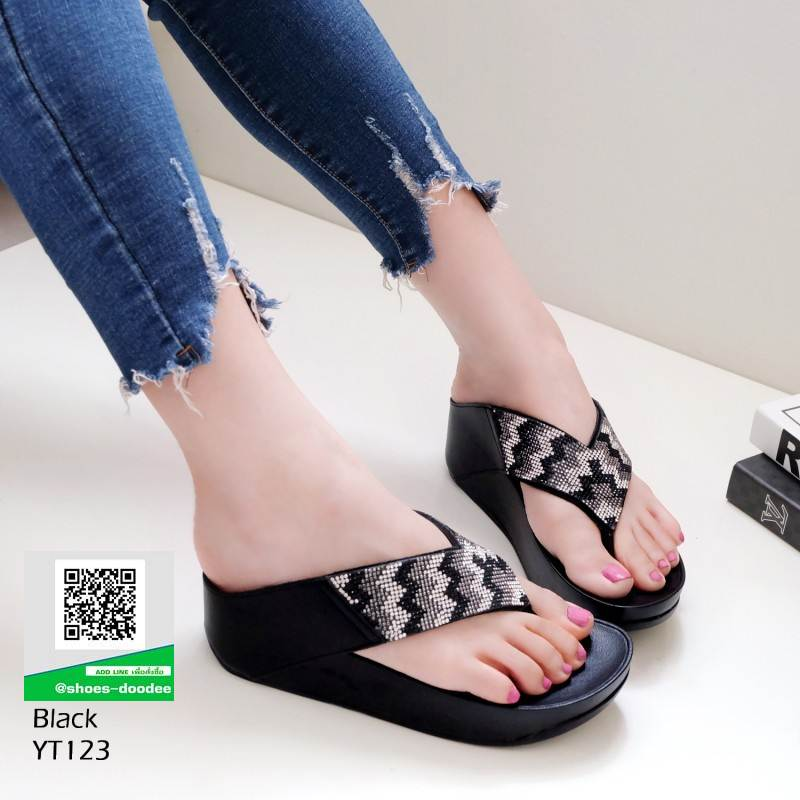 รองเท้าเพื่อสุขภาพฟิทฟลอบ YT123-ดำ [สีดำ]