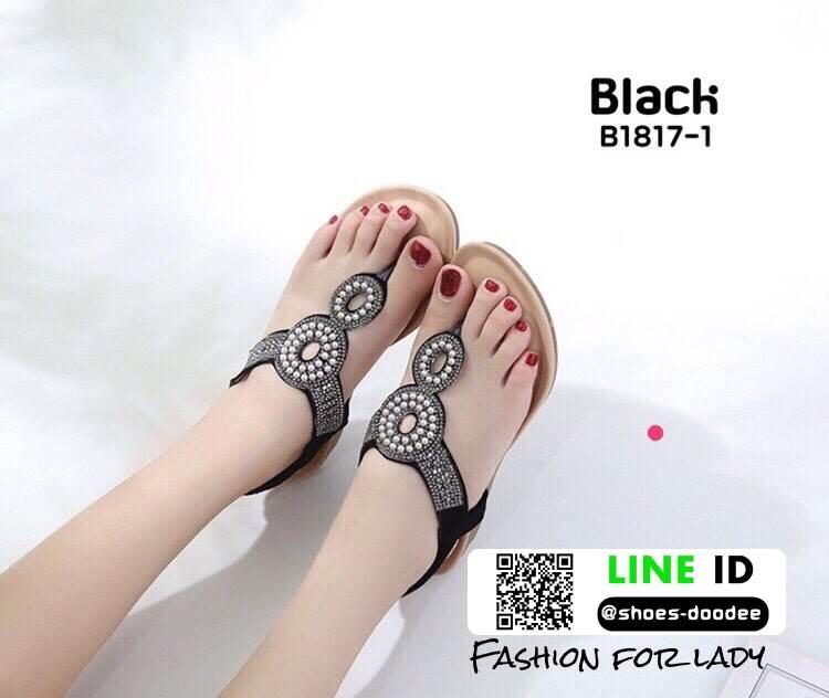 รองเท้าแตะพื้นนิ่มรัดส้น B1817-1-ดำ [สีดำ]