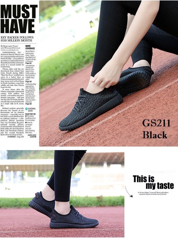 รองเท้าผ้าใบแฟชั่น งานผ้า น้ำหนักเบา ทรงยอดฮิต (สีดำ )