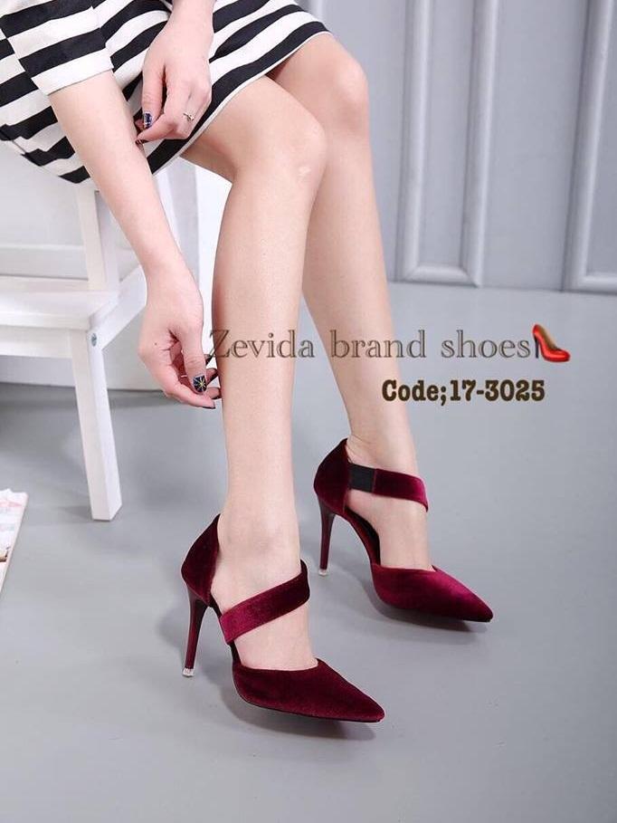 รองเท้าส้นเข็ม ห้มส้น หัวแหลม สไตล์เกาหลี (สีแดง )