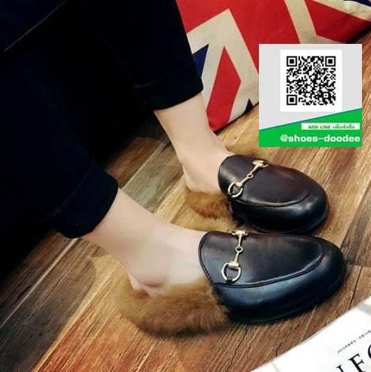 รองเท้าคัทชูเปิดส้นสีดำ สไตล์กุชชี่ (สีดำ )