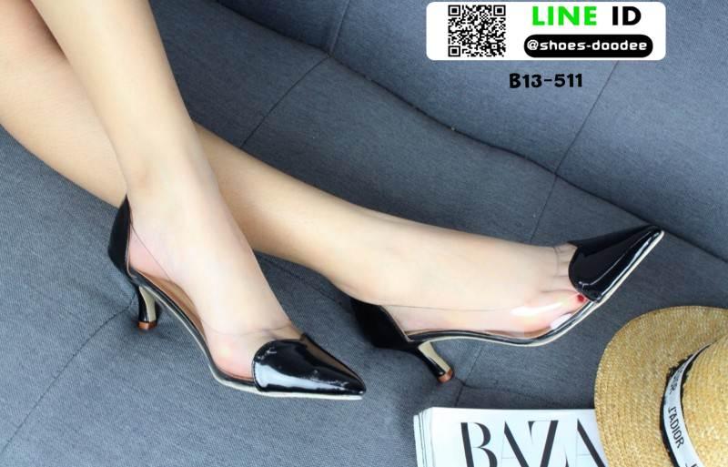 รองเท้าคัทชูหนังแก้ว หัวใจใส B13-511-BLK [สีดำ]