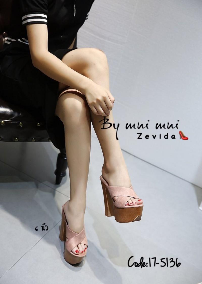 รองเท้าส้นสูงสีชมพู สายคาดไขว้ สไตล์เกาหลี (สีชมพู )