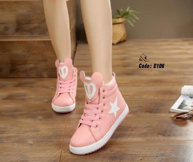 ผ้าใบหุ้มข้อหนัง PU แฟชั่นเกาหลี-Pink Pink [สีชมพู]