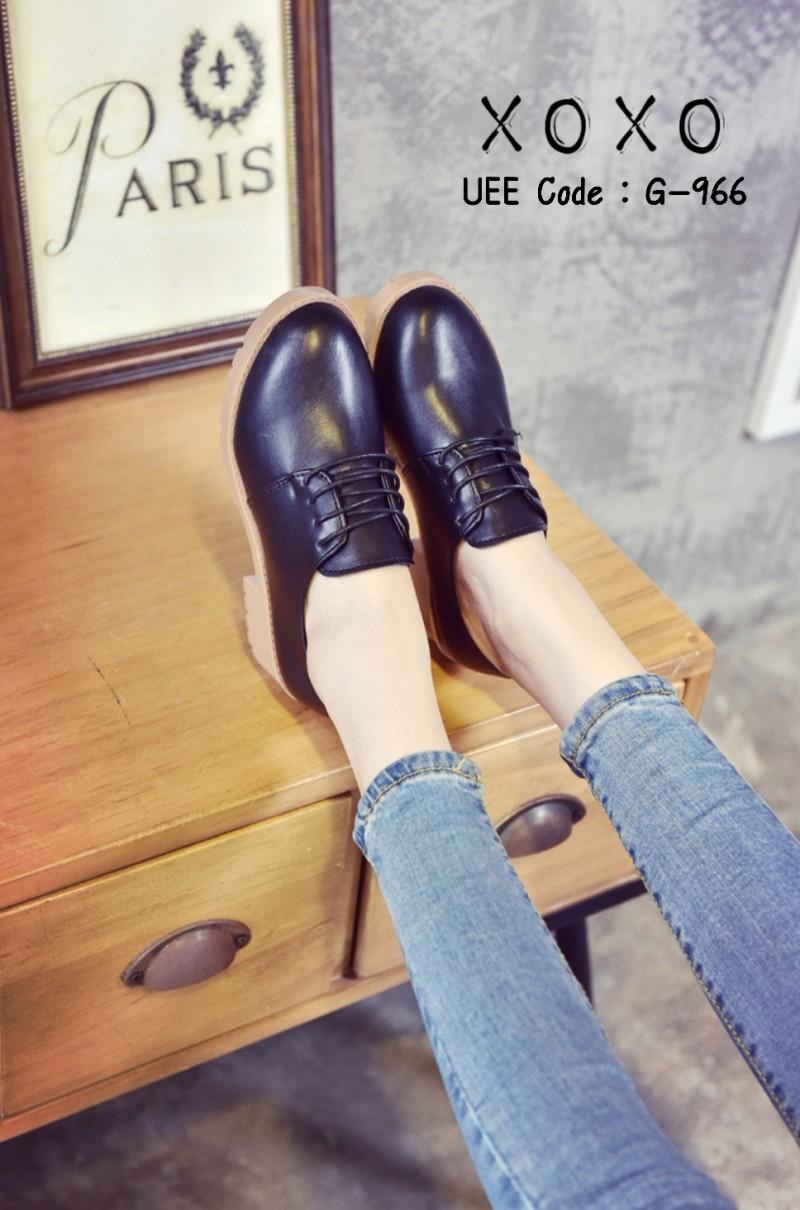 รองเท้าคัทชูผู้หญิงสีดำ งานน่ารัก สไตล์เกาหลี (สีดำ )