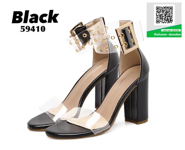 รองเท้าส้นสูงรัดข้อสีดำ หน้าสวมพลาสติกใสนิ่ม (สีดำ )