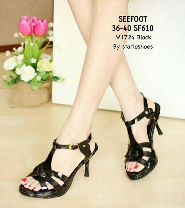 รองเท้าส้นเข็มรัดส้นสีดำ หน้าถักลาย สวยนิ่มเวอร์ (สีดำ )
