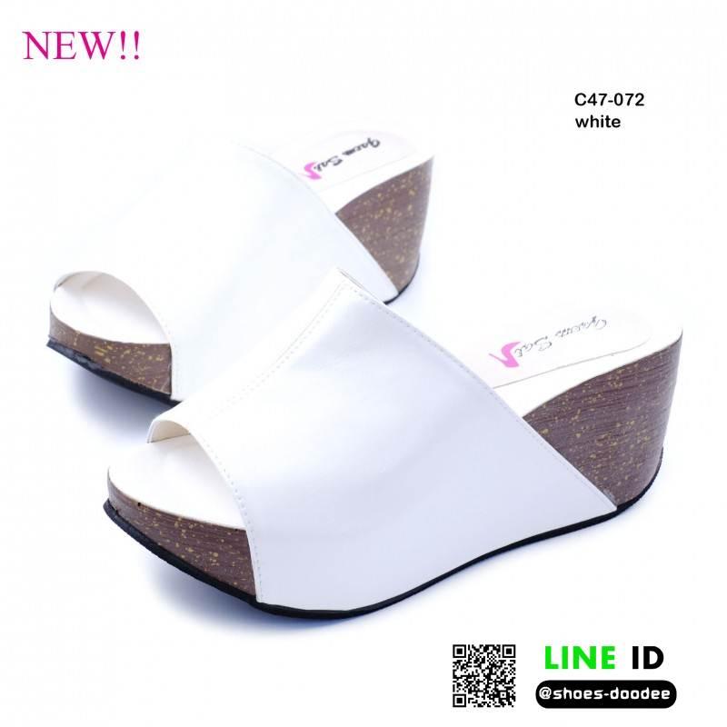 รองเท้าสไตล์สวม งานหนังพียูคาดหน้า C47-072C6-WHI [สีขาว]