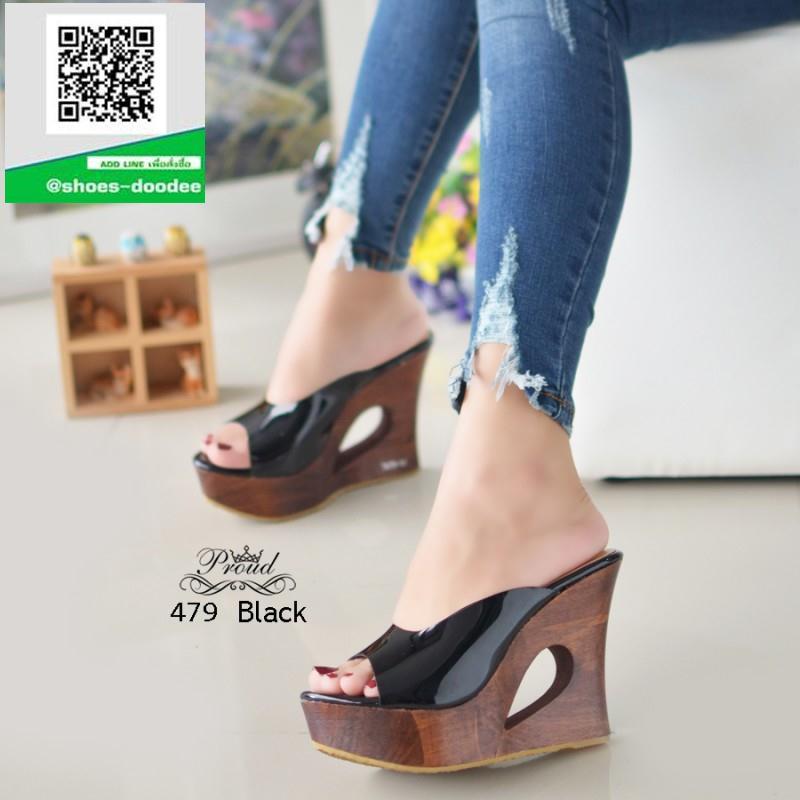 รองเท้าส้นเตารีดเปิดส้นสีดำ พื้นงานไม้แท้ (สีดำ )