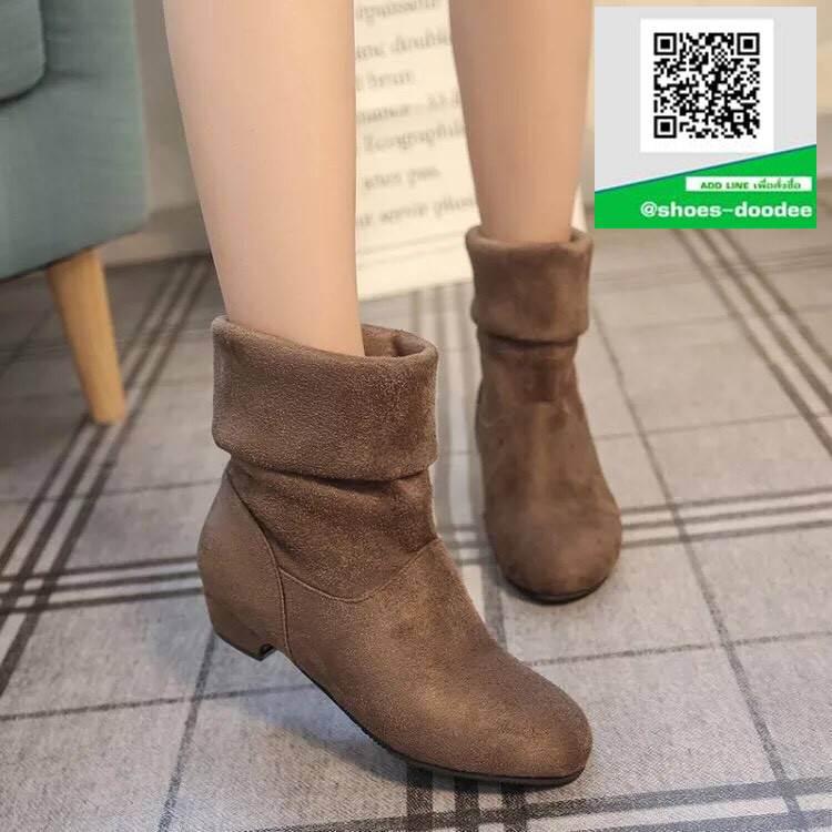 รองเท้าบูทสั้นหุ้มข้อสีน้ำตาล พับขอบ สไตล์เกาหลี (สีน้ำตาล )