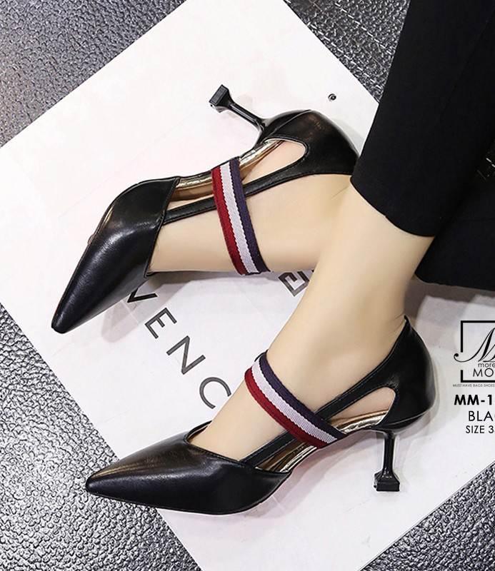 รองเท้าคัทชูส้นสูงสีดำ หัวแหลม เว้าข้าง (สีดำ )