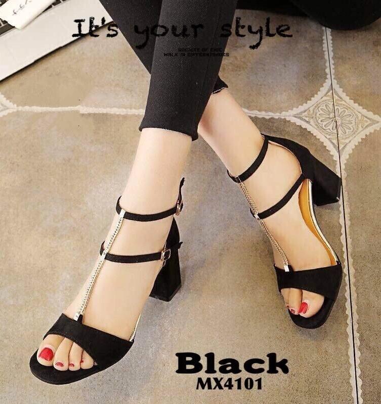 รองเท้าส้นตันรัดข้อสีดำ สักหราดนิ่ม สายคาดหน้าแต่งโซ่ทอง (สีดำ )