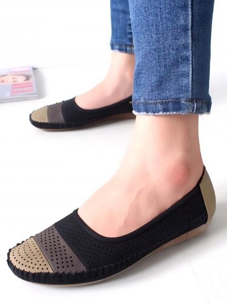 รองเท้าคัชชู สไตล์สุขภาพ หนังนิ่ม (สีดำ )