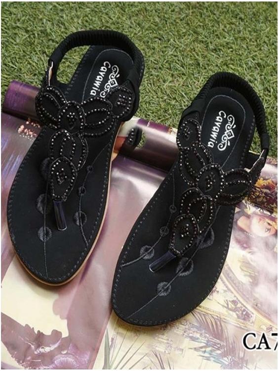 รองเท้าแตะลำลองรัดส้น งานบุนวม (สีดำ )
