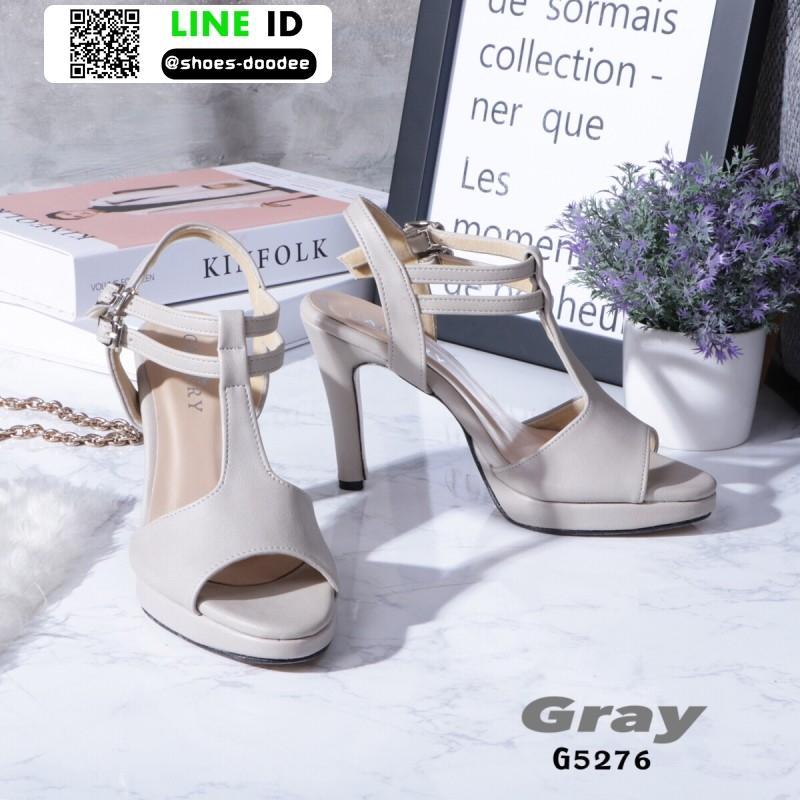 รองเท้าส้นสูงรัดส้น T-Strap G5276-GRY [สีเทา]