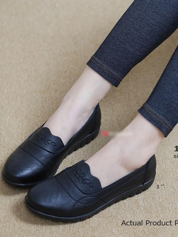 รองเท้าคัทชูเพื่อสุภาพ สไตล์วินเทจ (สีดำ )