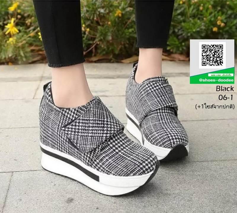 รองเท้าผ้าใบ ลายสก้อช แปะเมจิกปรับขนาดด้านข้าง 06-1-ดำ [สีดำ]