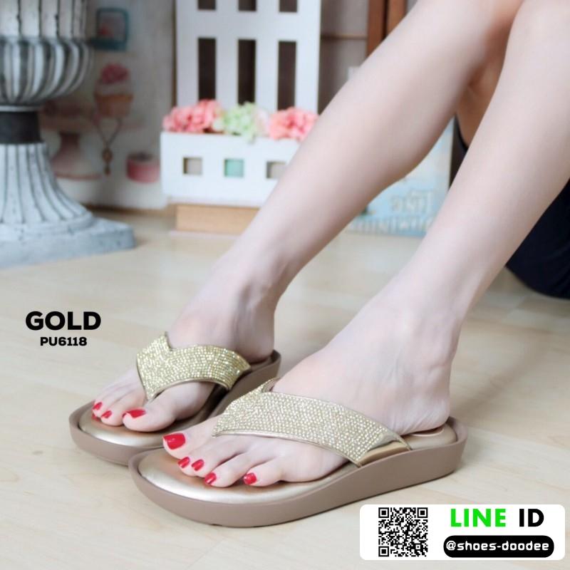 รองเท้าแตะลำลองแบบคีบ วัสดุหนัง PU PU6118-GLD [สีทอง]