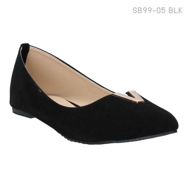 ลดล้างสต๊อก รองเท้าส้นแบน SB99-05-BLK [สีดำ]